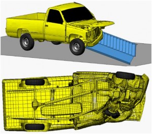 graphics showing simulated crash test of an aesthetically designed concrete barrier